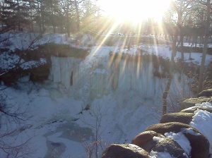 Minnehaha Falls in Mid-February